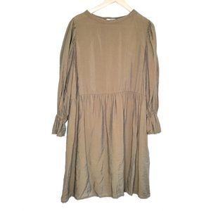 Anthropologie Lacausa Olive Green Babydoll Dress